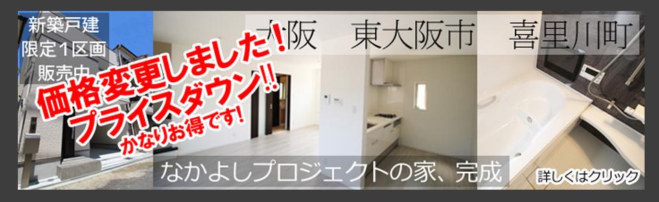新築戸建て 販売中 東大阪 瓢箪山 喜里川町 なかよしプロジェクトの家